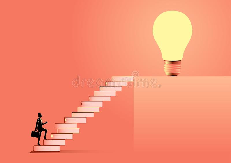 Knowledge For Success. Business illustration of a businesswoman with suitcase going up the stairs made from books leading up to a light bulb. Education, solution stock illustration