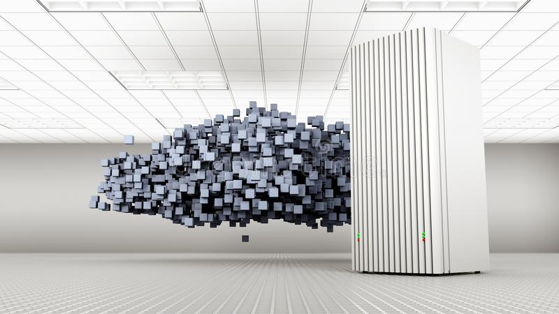 Knowledge Tower with Blue Cloud stock photography