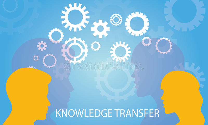 Knowledge Transfer Concept. Vector illustration. Knowledge Transfer Concept. Two head silhouette of man and woman sharing knowledge, idea, gear symbol stock illustration
