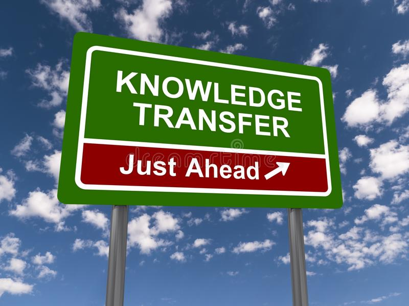Knowledge transfer. Green and red sign with white letters saying knowledge transfer just ahead royalty free stock images