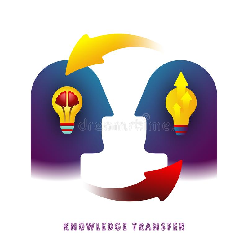 Knowledge transfer. Vector. Flat. Gradient. Icon royalty free illustration