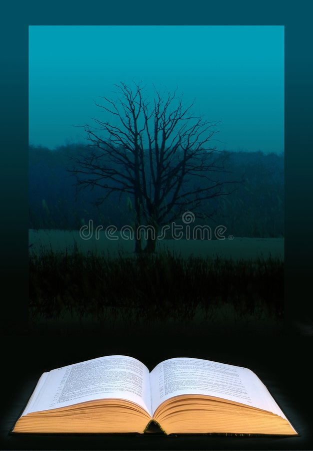 Knowledge tree. Digital art: open book and knowledge tree; photo collage