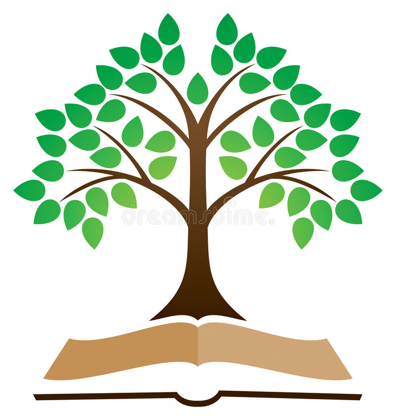 Knowledge Tree Book Logo. A knowledge concept logo with a leaf tree and book image