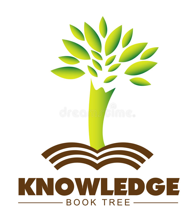Knowledge tree book logo. Knowledge concept with a stylized tree and book stock illustration