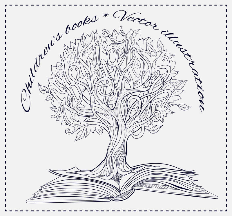 Knowledge tree growing out of a book stock illustration