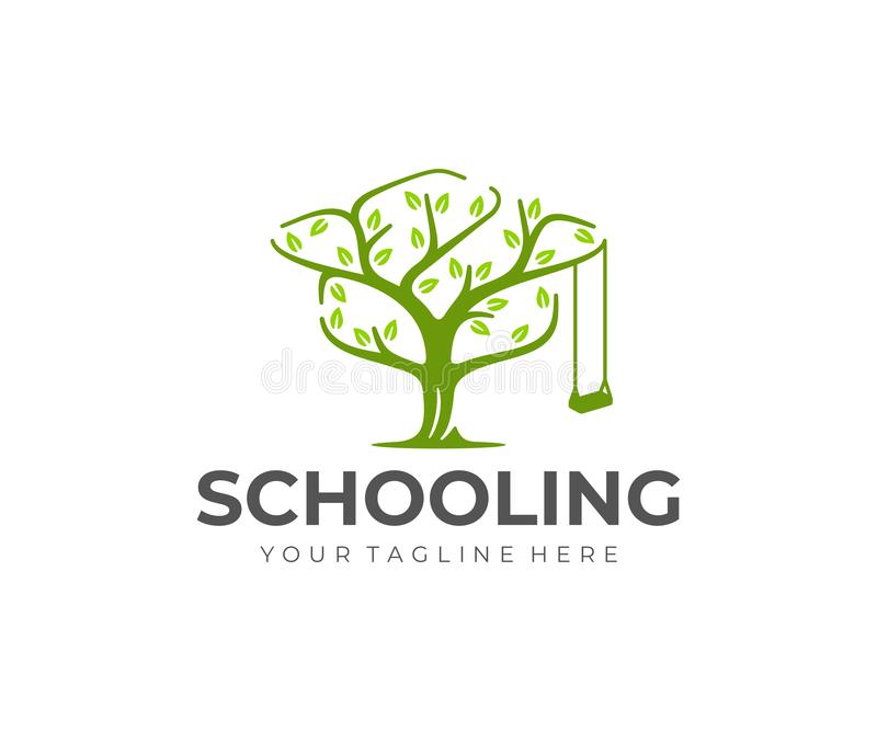 Knowledge tree logo design. Bachelor hat and tree vector design. Education logotype vector illustration