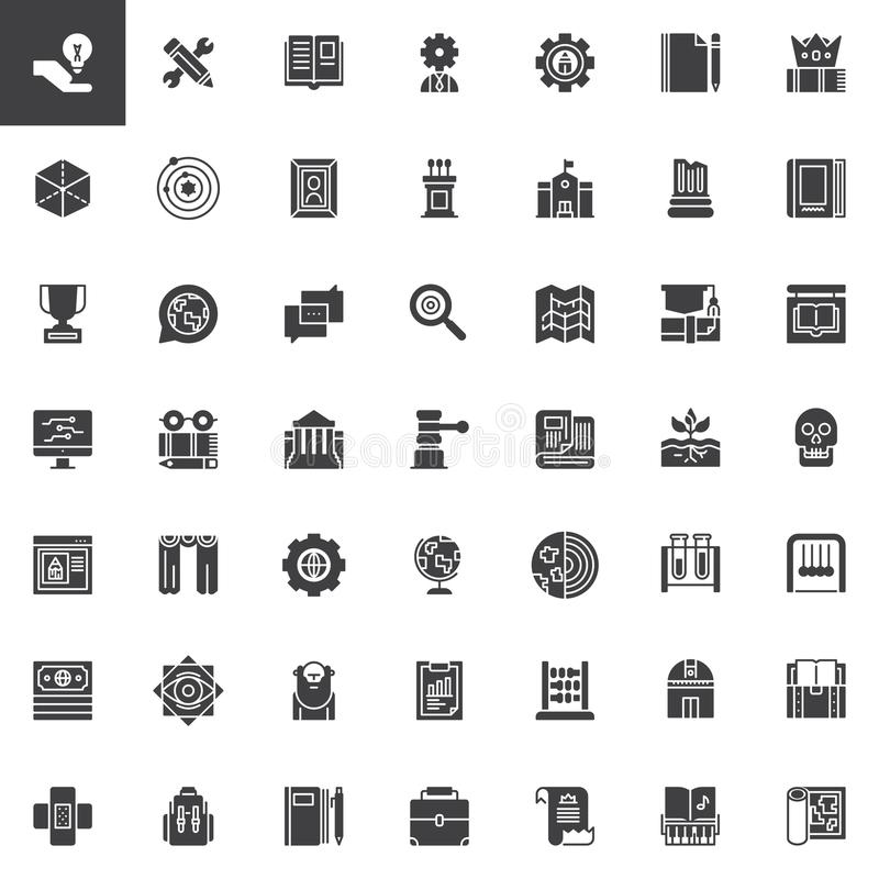 Knowledge vector icons set. Modern solid symbol collection, filled style pictogram pack. Education signs, logo illustration. Set includes icons as anthropology royalty free illustration