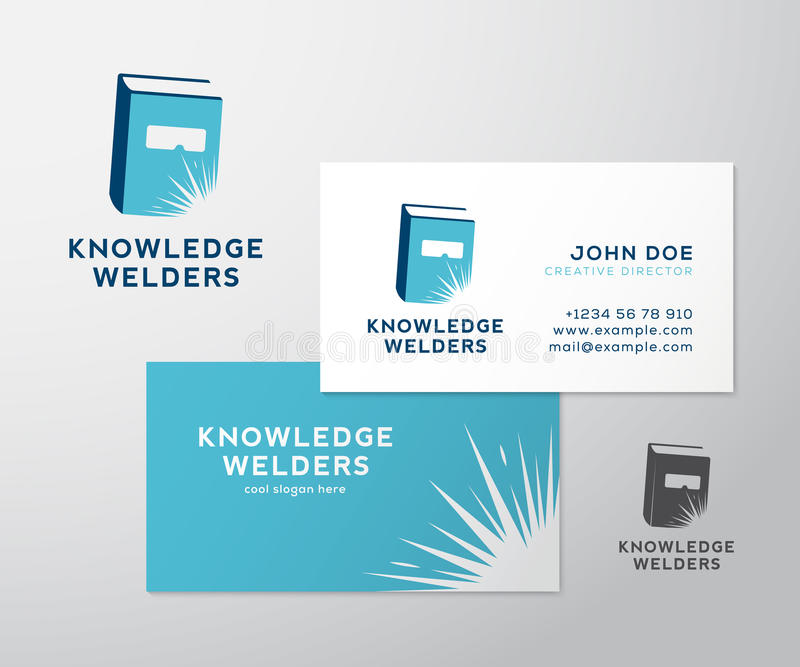 Knowledge Welders Education Abstract Vector Logo. And Business Card Template or Mockup. Isolated with Realistic Soft Shadows vector illustration
