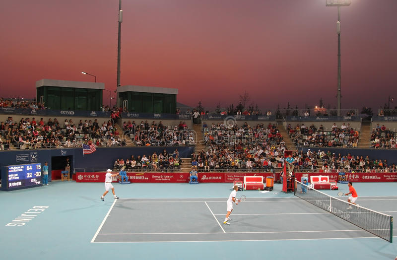 Knowles/Roddick contra Lee/Yang - China abre 2009 fotografia de stock royalty free