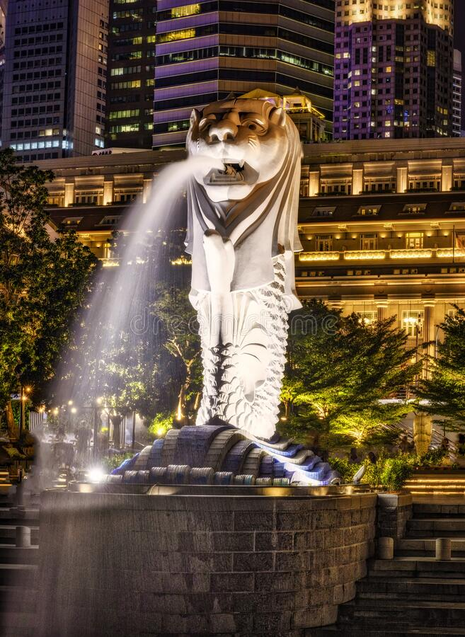 The Singapore Lion at night stock photo