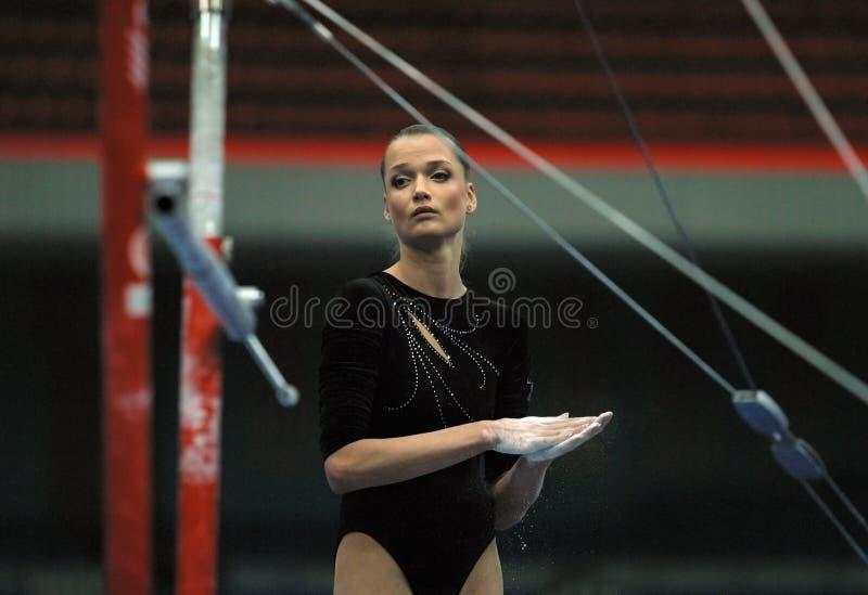 Known gymnast Svetlana Horkina stock photography