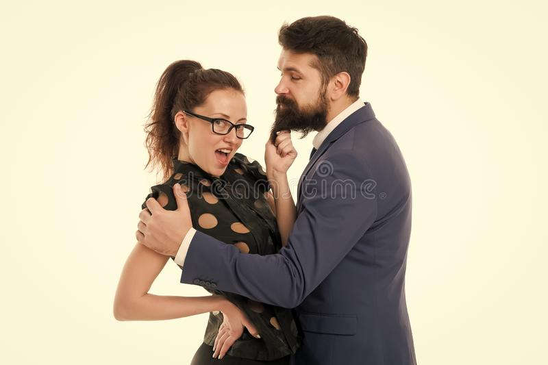 She knows how achieve success. Nothing personal just business. Colleagues man with beard and pretty woman on white. She knows how achieve success. Nothing royalty free stock photo