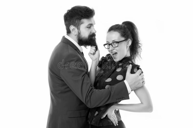 She knows how achieve success. Nothing personal just business. Colleagues man with beard and pretty woman on white stock photos