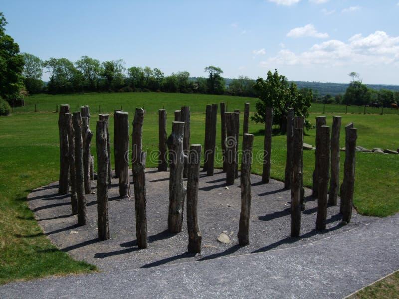 Knowth木henge或木材圈子 免版税库存图片