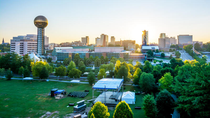 Knoxville city park event and sunrise stock image