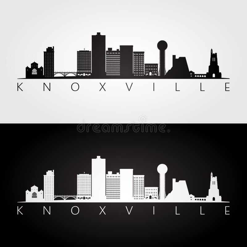 Knoxville, de horizon van de V.S. en oriëntatiepuntensilhouet stock illustratie