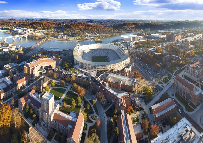 Knoxville, Tennessee Fall Season over UT-Campus royalty-vrije stock foto