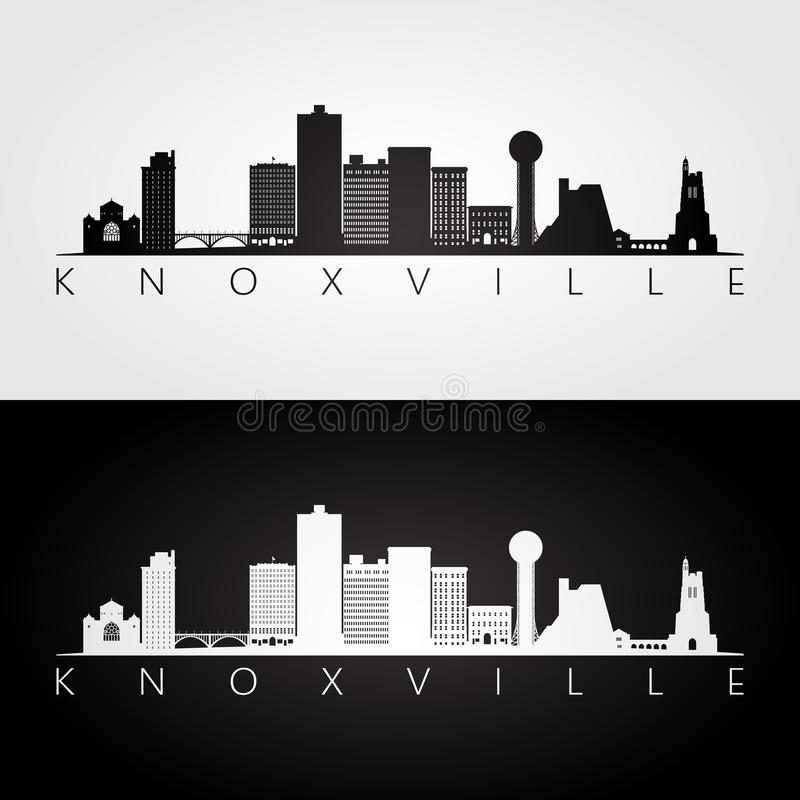 Knoxville, usa linia horyzontu i punkt zwrotny sylwetka, ilustracji