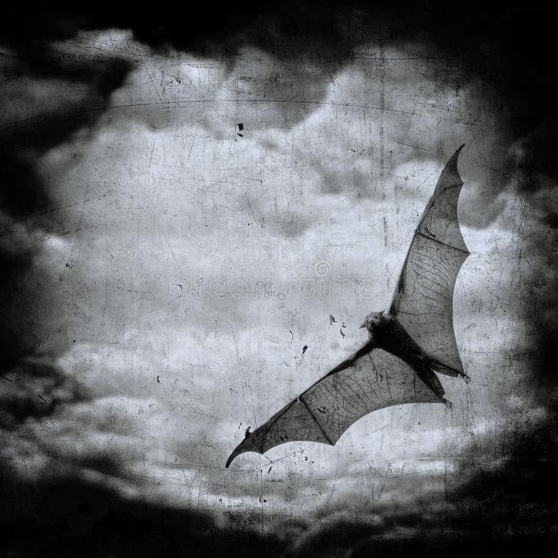 Knuppel in de donkere bewolkte hemel, Halloween achtergrond vector illustratie