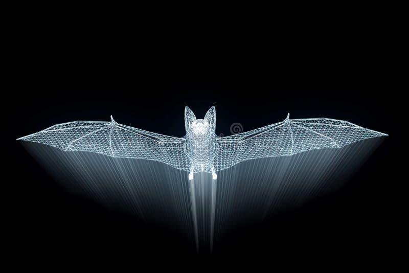 Knuppel in de Stijl van Hologramwireframe Het 3D Teruggeven van Nice royalty-vrije illustratie