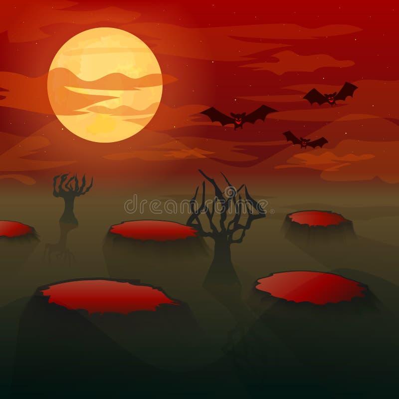 Knuppel-vampieren in het maanlicht stock illustratie