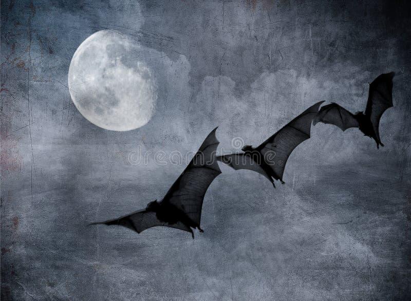Knuppels in de donkere bewolkte hemel, Halloween achtergrond stock illustratie
