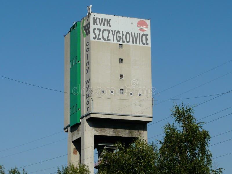 KNUROW SZCZYGLOWICE, SILESIA, MINA SZZYGLOWICE DE POLAND-INDUSTRIAL VIEV fotografia de stock royalty free