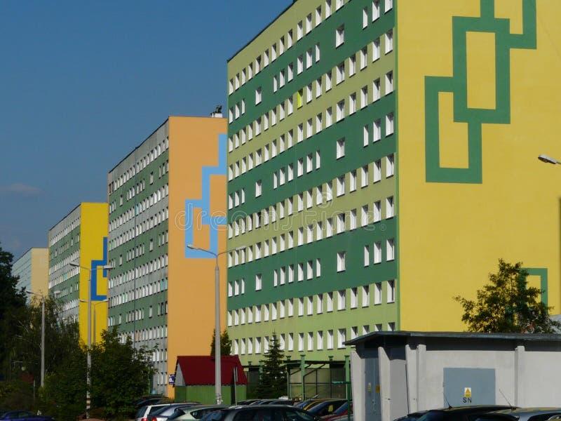 KNUROW SZCZYGLOWICE, SILESIA, propriedade do Polônia-alojamento 20 anos, torres em Alei Piastow imagens de stock