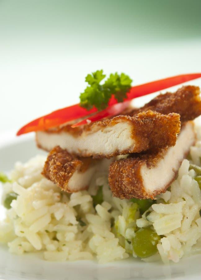 Knusperiges gebratenes Huhn mit Reis lizenzfreie stockfotografie