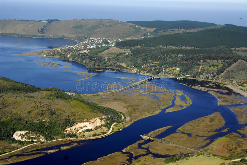 Knysna,南非鸟瞰图  库存图片