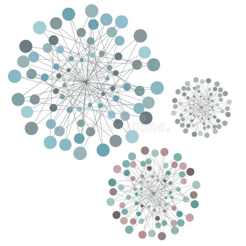Knyta kontakt abstrakt idé med linjer och cirklar, anslutningsbegrepp royaltyfri illustrationer