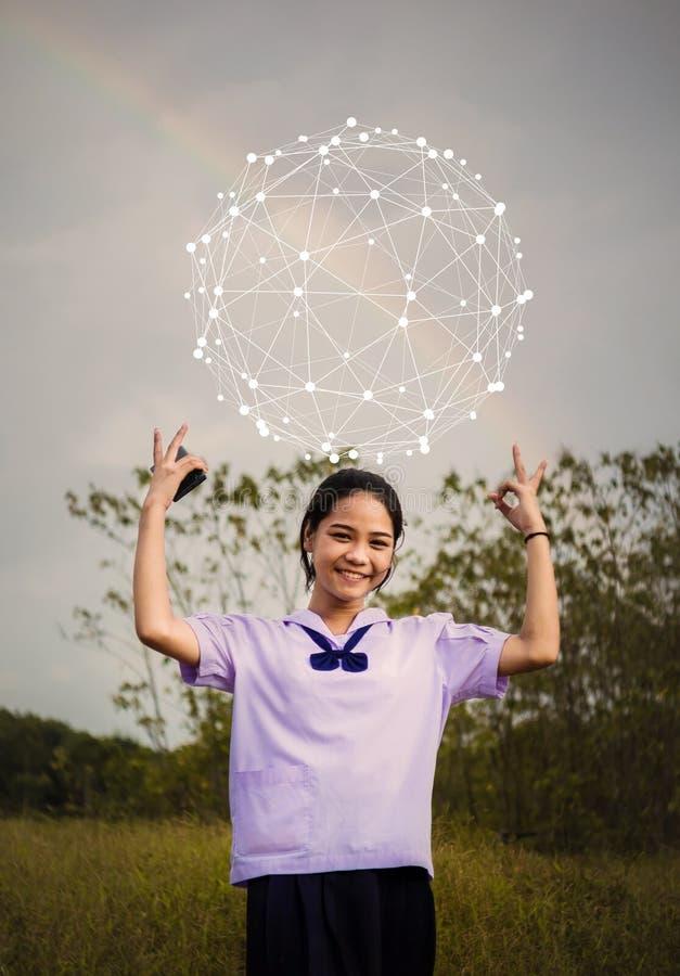 Knyta kontakt begrepp för folk och för globalt nätverk royaltyfri fotografi