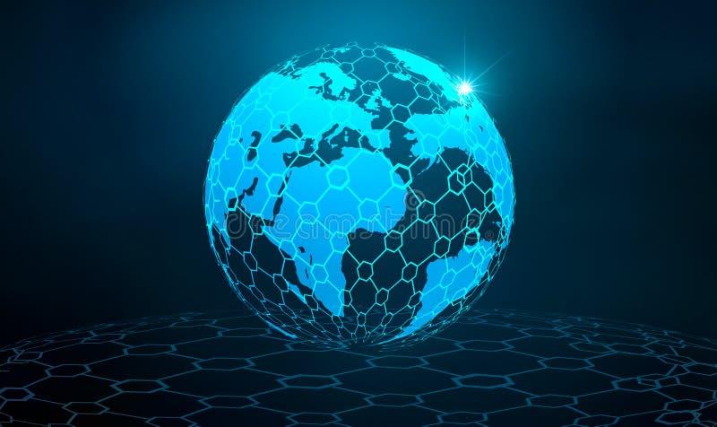 Knyta kontakt den globala översikten för jordkommunikationsnätverket av mörkret för världsblåttöversikten - netwo för logistik fö royaltyfri illustrationer