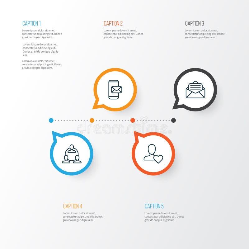 Knyta kontakt fastställda symboler Samling av teamwork, favorit- person, telefonMessaging och andra beståndsdelar royaltyfri illustrationer