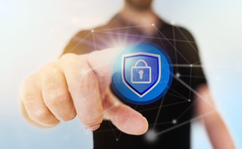 Knyta kontakt säkerhetsbegreppet med den rörande hänglåssymbolen för affärsmannen på den genomskinliga pekskärmen royaltyfri fotografi