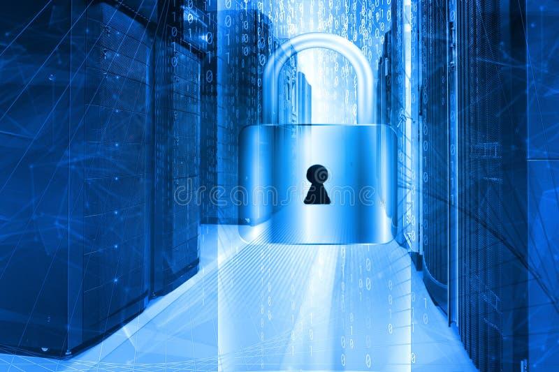 Knyta kontakt säkerhetsbegreppsserveren som stängs med hänglåset, databassäkerhet arkivfoto