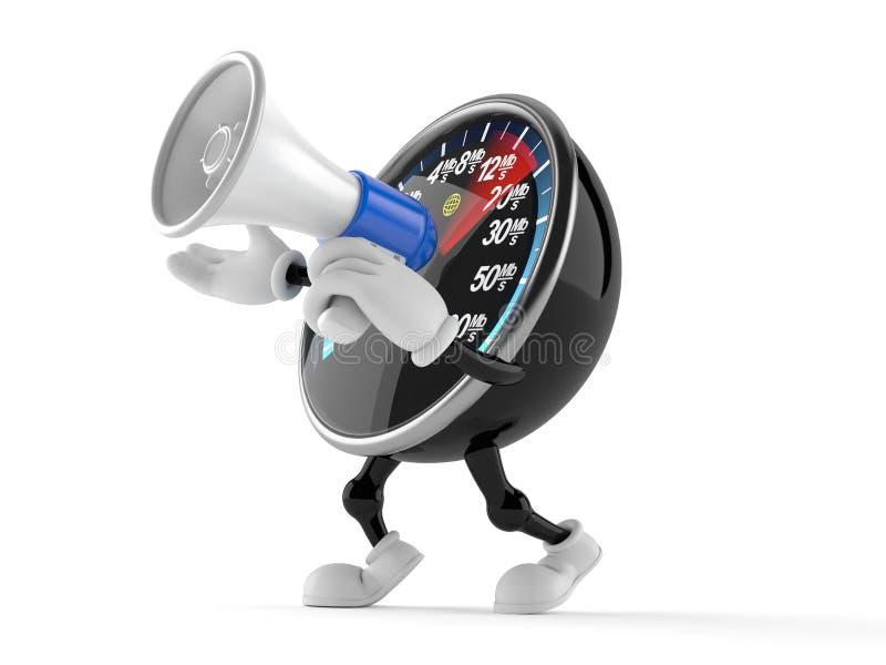 Knyta kontakt teckenet för hastighetsmetern som talar till och med en megafon vektor illustrationer