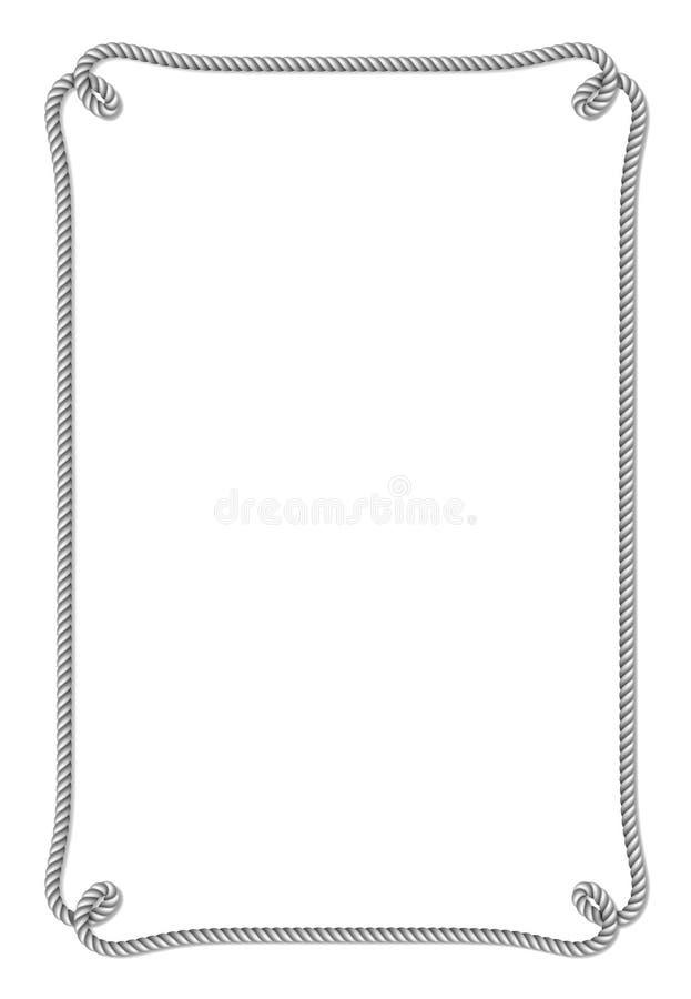 Knyter det gråa repet vävde vektorgränsen med repet, den vertikala vektorramen, på vit royaltyfri illustrationer