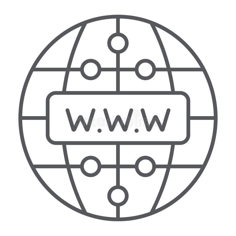 Knyter kontakt den tunna linjen för internet symbol, website och jordklot, tecknet, vektordiagram, en linjär modell på en vit bak stock illustrationer