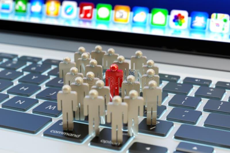 Knyter kontakt det sociala massmedia för internet gemenskap- och affärsmarknadsföring och uppsätta som målbegreppet royaltyfri illustrationer