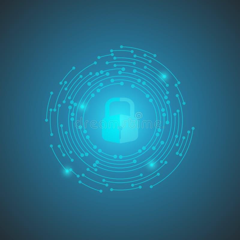 Knyter kontakt förbinder bakgrund för abstrakt begrepp för nyckel- teknologi för säkerhetslåset, blå bakgrund, och, illustrationv stock illustrationer