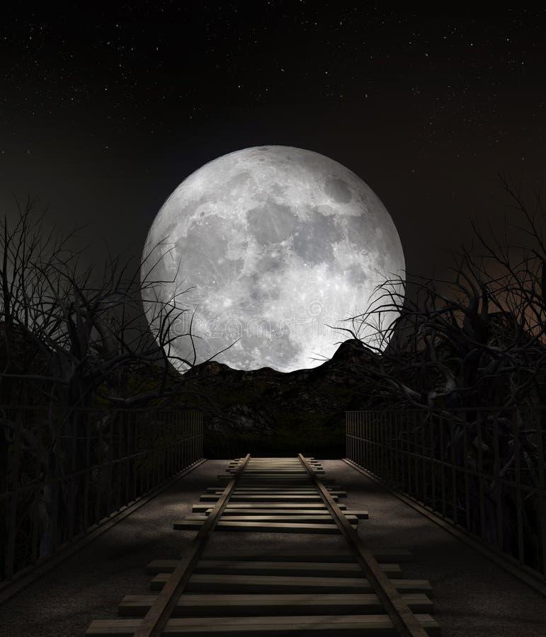 Końcówka linia - Rujnujący Kolejowy most ilustracja wektor
