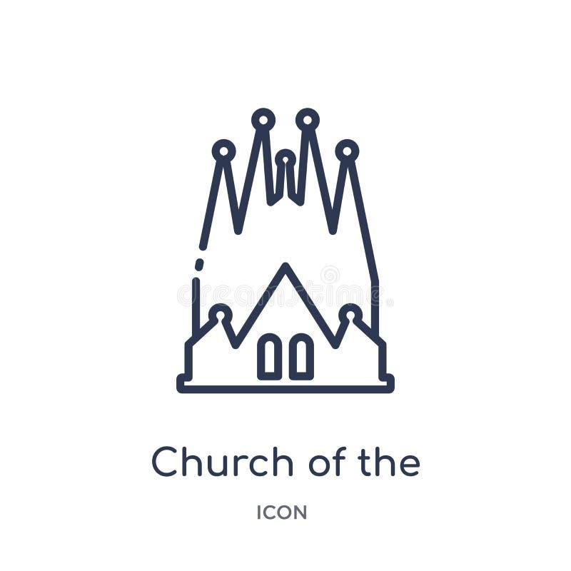 kościół święta rodzinna ikona od zabytków zarysowywa kolekcję Cienieje kreskowego kościół święta rodzinna ikona odizolowywająca n ilustracji