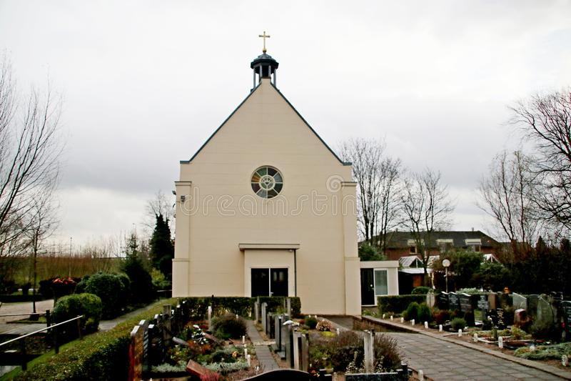 Kościół Katolicki w Moordrecht budowie w 1860 z funduszami od wodnego stanu po reformowanego brał mnóstwo kościół podczas obraz royalty free
