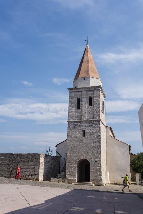 Kościół, miasteczko Krk na wyspie Krk, Chorwacja obraz stock