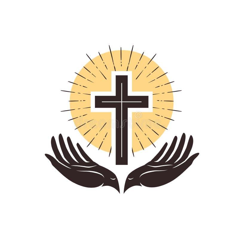Kościelny logo Krzyż i ręki, chrześcijański symbol również zwrócić corel ilustracji wektora ilustracja wektor