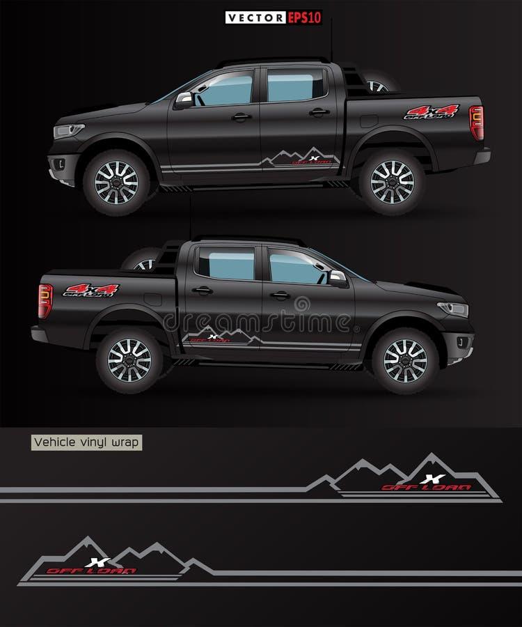 4 koła napędzane ciężarówką i samochodowym wektorem graficznym linie abstrakcyjne z czarnym tłem do zawijania winylu royalty ilustracja