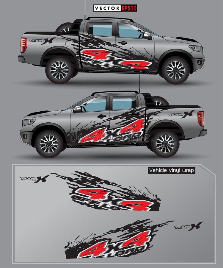 4 koła napędzane ciężarówką i samochodowym wektorem graficznym linie abstrakcyjne z szarym tłem do zawijania winylu royalty ilustracja