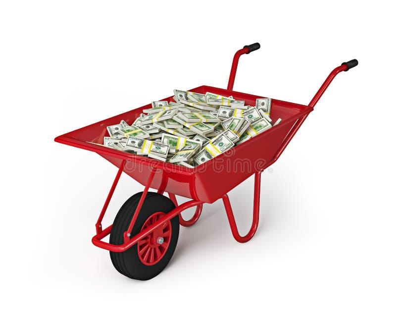Koła taczkowy pełny dolary odizolowywający na białym tle zdjęcie royalty free
