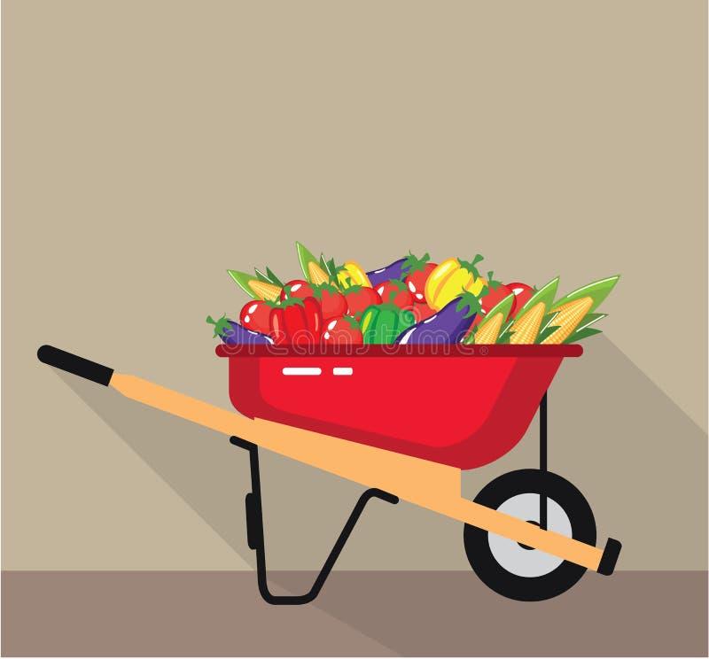 Koła Taczkowy wypełniający z warzywami Wektorowymi ilustracji